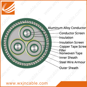 Aluminum Alloy Conductor(AAAC) XLPE Insulated PVC Sheathed Steel Wire Armoured Power Cable 3.6/6KV-26/35KV