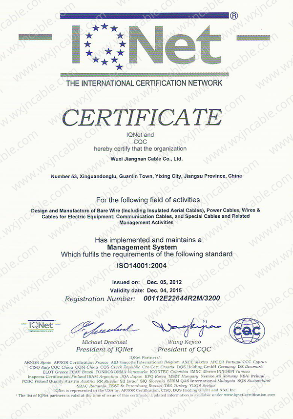 Certificate ISO 14001 IQNeT