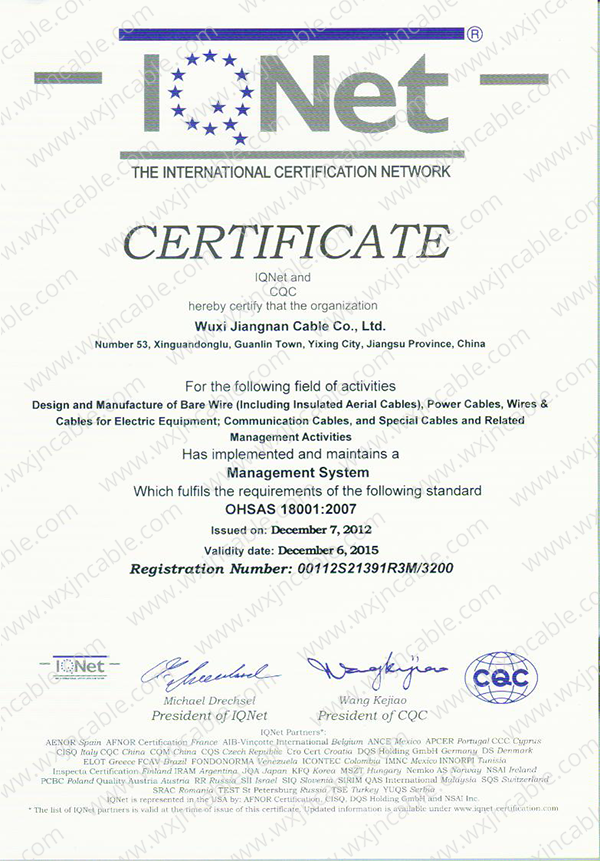 Certificate ISO 18001 Of IQNet