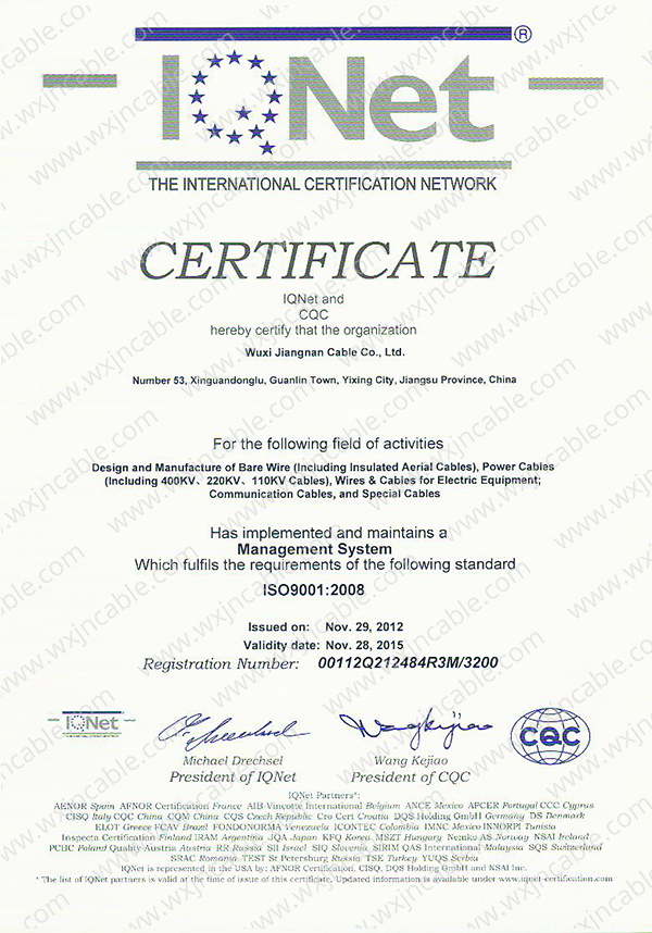 Certificate ISO 9001 Of IQNeT