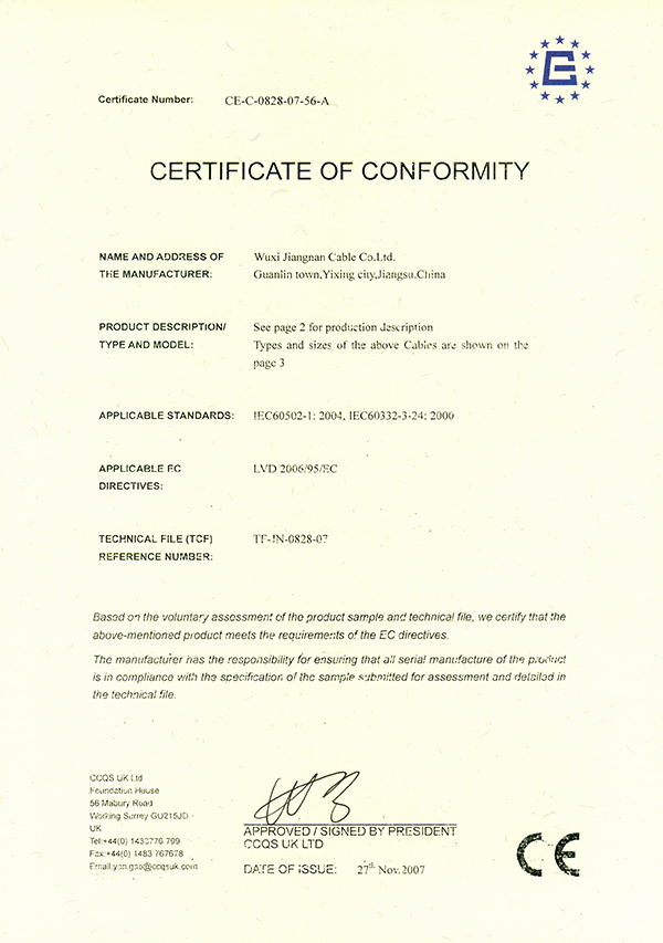 CE certificate Low Voltage Power Cable