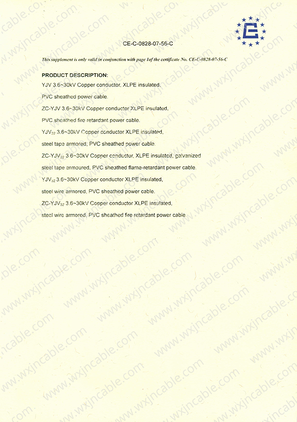 CE certificate Medium-Voltage Power Cable